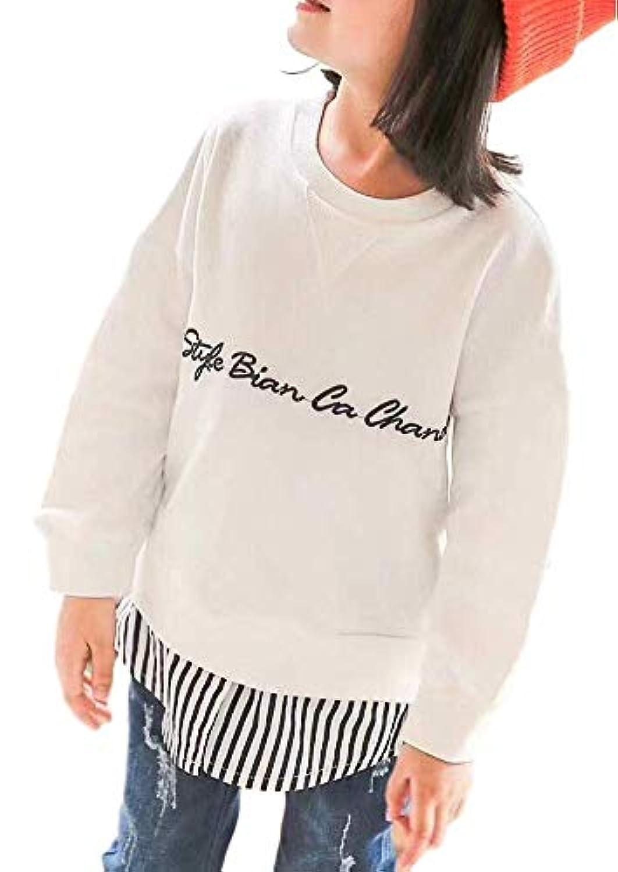 [Lieto Rana] 子ども ガールズ すそシャツ付き トレーナー 刺繍ロゴ 2~10歳用