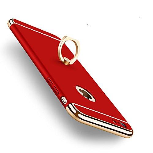 KYOKA iphone6ケース iphone6s ケース リング付き 衝撃防止 スタンド機能 3パーツ式 アイフォン6ケース おしゃれ 高級感 薄型 携帯カバー (iPhone6/6s, レッド)