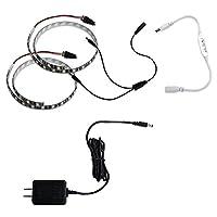 ミニ調光器(白) + 100Vアダプター + 防水 LEDテープライト (黒ベース) 3チップ 白色 50cm×2本セット
