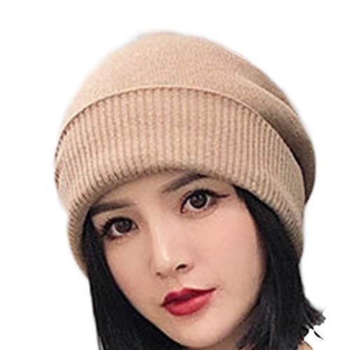 ハット 帽子女性の秋と冬のソリッドカラーニット帽子耳プロテク...