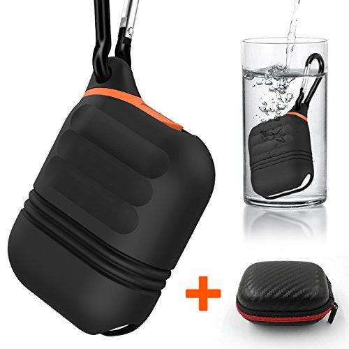 airpods ケース, airpodsケース カバー シリコン 防水 エアーポッズ ケース 防塵栓を持つ エアーポッズ アクセサリー 携帯に便利(黒い)