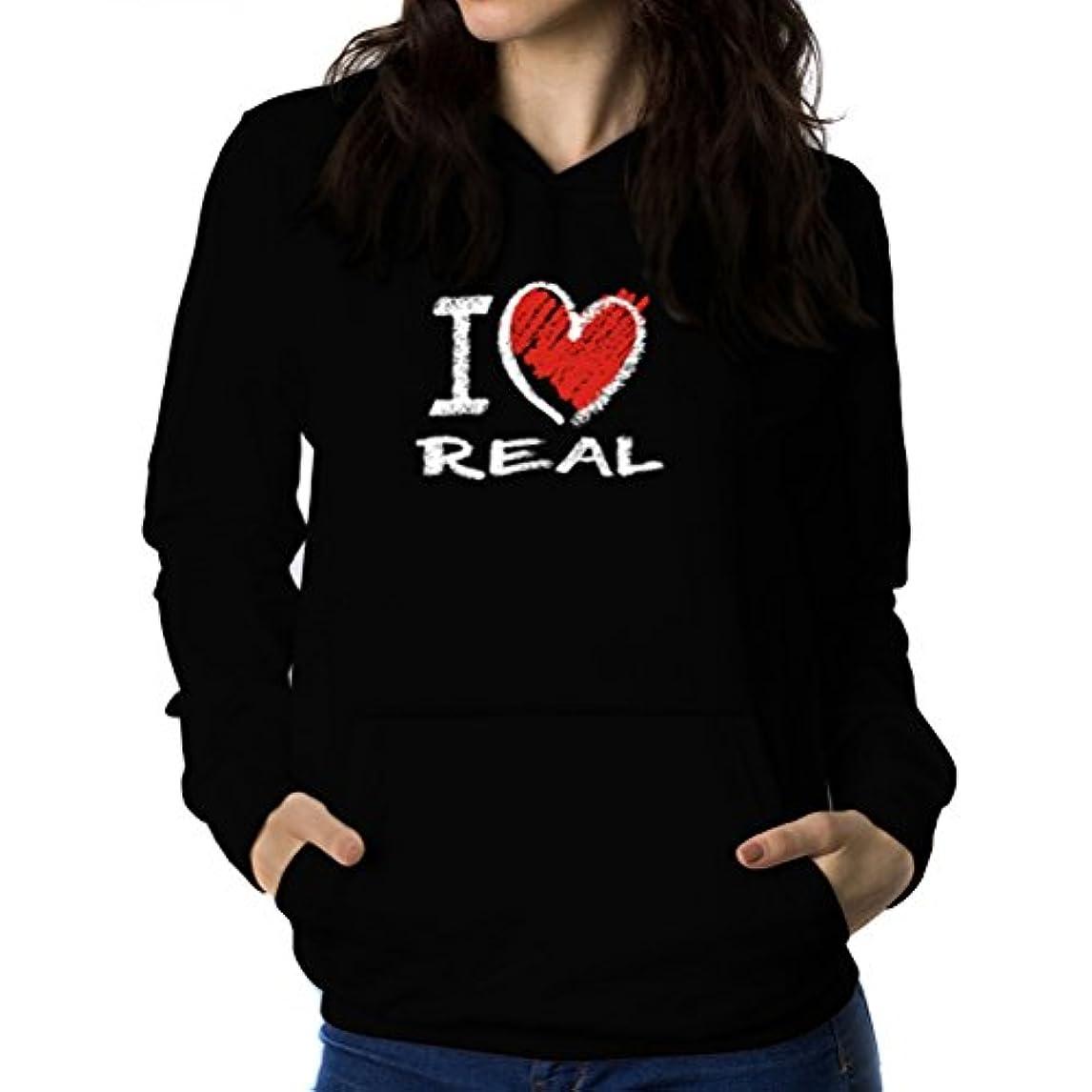 ビジターアテンダント発揮するI love real chalk style 女性 フーディー