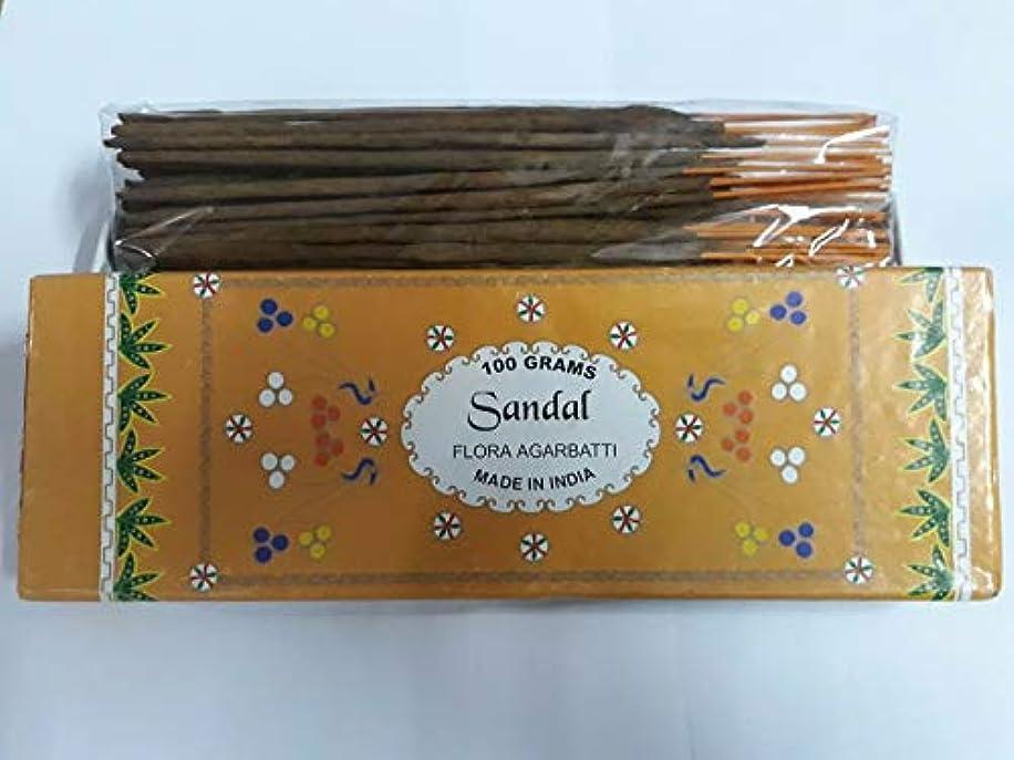短くする意気揚々建設Sandal (Chandan) サンダル Agarbatti Incense Sticks 線香 100 grams Flora Incense Agarbatti フローラ線香