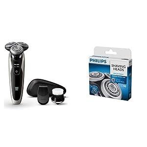 [セット販売]【Amazon.co.jp限定】フィリップス 9000シリーズ メンズ 電気シェーバー 72枚刃 回転式 お風呂剃り & 丸洗い可 トリマー・洗顔ブラシ付 S9090/43 + フィリップス シェーバー替刃 9シリーズ用 SH90/51
