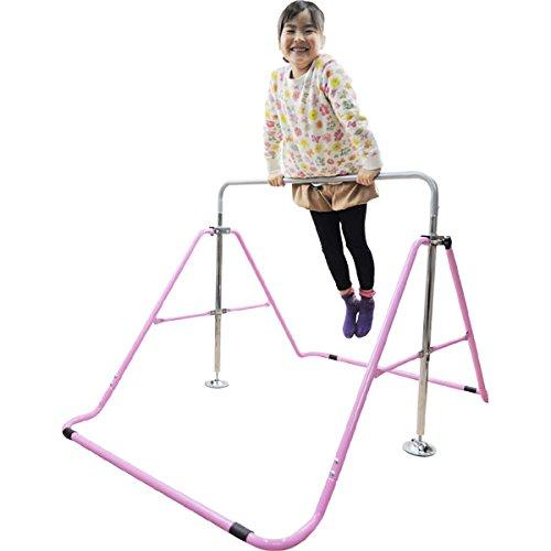 室内・屋外使用可 折りたたみ 鉄棒 ピンク 子供用 40kgまで 高さ調整OK&組立カンタン