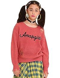 ANAP GiRL ダメージロゴ刺繍セーター