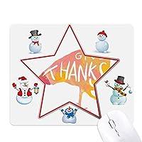 感謝祭トルコの水彩画 クリスマス・雪人家族ゴムのマウスパッド