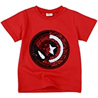 Teach Leanbh Little Boys Flip Sequin T-Shirt Cotton Crewneck Short Sleeve Tees Tops 3-8T