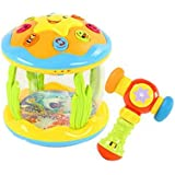 子供のための音楽の電気ベビー玩具ハンドドラムタッピングインストゥルメントパーカッション、イエローオーシャンドラム+ハンマー