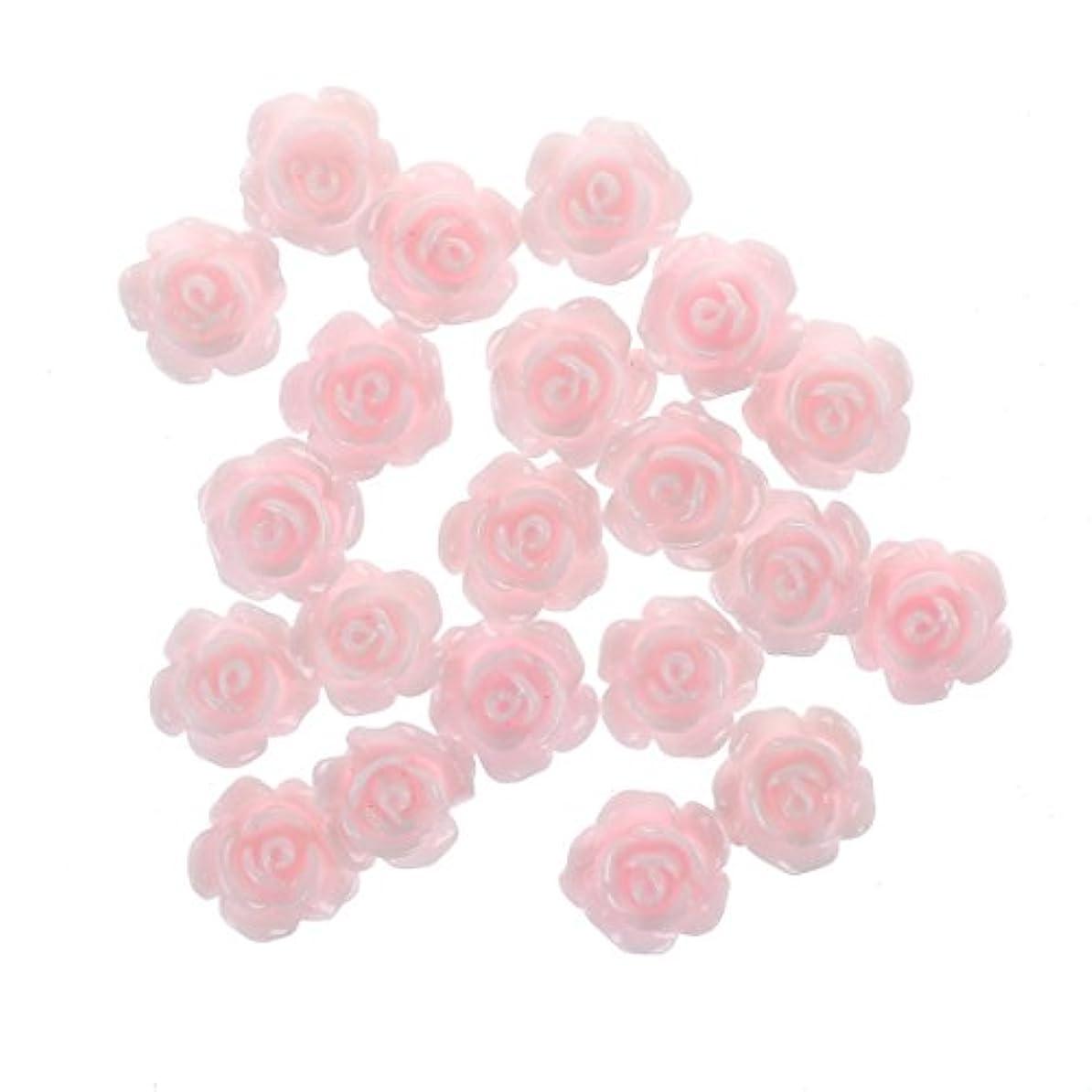 文言フィドルティッシュネイルアート,SODIAL(R)20x3Dピンクの小さいバラ ラインストーン付きネイルアート装飾