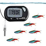 SunGrow Digital Thermometer, 1.5x2.3 Inches, Precise Monitoring of Tank Temperature, Easy-to-Use, Suitable for All Environment, Can Read in Both Degree Celsius and Fahrenheit, Battery Included