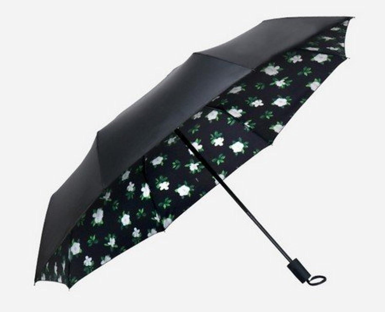 晴雨兼用 紫外線UVカット 内側イベリス、バラ模様 ブラックコーティング 折りたたみ傘 イベリス 4659736-I