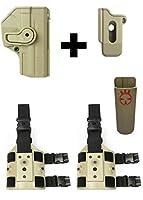 IMI Defense zsp08Single Magポーチ+ z1385360回転ホルスターH & K HK Heckler & Koch vp9/sfp99mm、タン+ 2つz2200ドロップ脚アタッチメントリグ+ Ultimate Arms Gear Magazineベルトホルダー