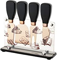 Hecef Cheese Knife & Acrylic Stand Set of 5 - Stainless Steel Cheese Slicer with PP Handle & Acryl
