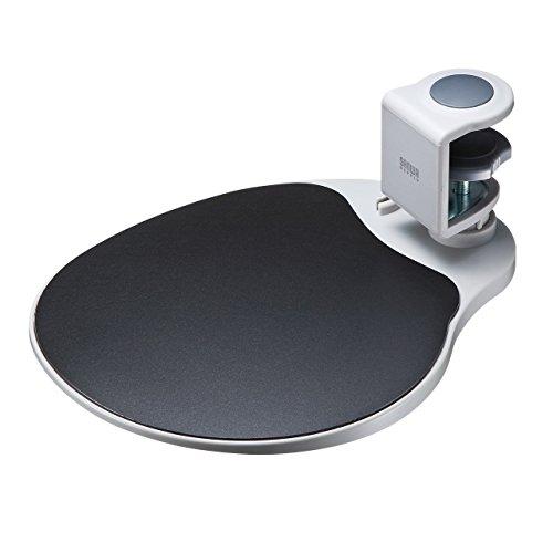 サンワダイレクト マウステーブル 360度回転 クランプ式 硬質プラスチック製 ライトグレー 200-MPD021W