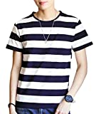 [アルトコロニー] ボーダー柄 tシャツ シンプル カジュアル 半袖 カットソー uネック スポーツ 綿 快適 M ~ XL メンズ