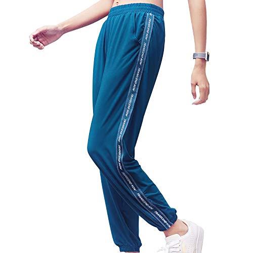 Sillictor スウェット パンツ レディース ジョガーパンツ スポーツ トレーニング ロングパンツ ジャージ アクティブ ズボン シンプル ブルー M 1763