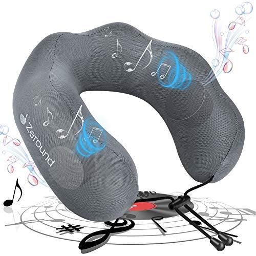 最新のBluetooth イヤホン音楽枕 ワイヤレス イヤホン 3Dステレオ高音質 遮音重視 ノイズキャンセリング 音楽まくら 安眠 クッション 旅行 洗える 人体工学設計 u型枕(グレー)