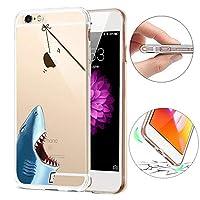 iPhone 5 ケース iPhone SEカバー透明、セブンファンダクリエイティブTPUソフトTPUケース、バックカバー保護TPUジェルバンパーケース、シリコン保護ケースカバー iPhone SE / 5S / 5用 - サメ