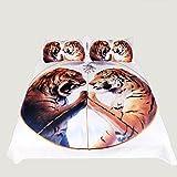 3D効果完全な寝具セットアニマルパターン羽毛カバー白と枕ピローキルトと茶色通気性(シングルダブルクイーンキング)3つの作品,210*210Cm Rventric