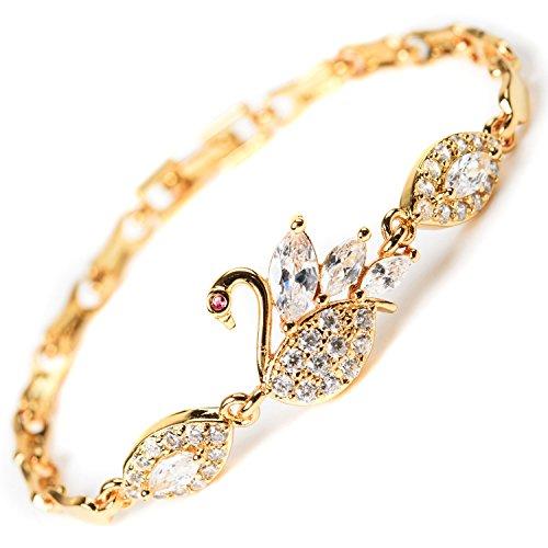 MAX World ブレスレット AAAクリスタル 18金 ゴールド フィルド ジュエリー Czダイヤモンド 18K Yellow Gold Filled レディースファッション スワン 黄金の鳥