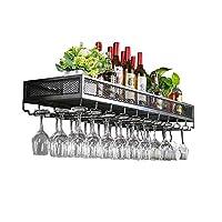 壁掛け式ワインラック|ヴィンテージメタルボトルホルダー|中断されたワイングラスホルダー|素朴なワインラック壁掛けワインクーラーワインラック(60/80/100/120 * 35 * 15 Cm)