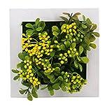 Mille Ti Rana 壁に掛けれる インテリア グリーン 造花 観葉植物 多肉植物 3D アート フラワー … (黄2)