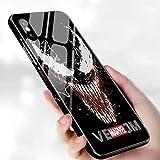 光る!! iPhone各機種対応 マーベル MARVEL 背面ガラス TPUバンパーケース (iPhone11, ヴェノム Vedom) [並行輸入品]