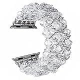 royalmalファッションハンドメイド伸縮性ストレッチクリスタルビーズブレスレットメタルチェーンレディースガールズストラップリストバンドfor Apple Watchシリーズ3?2?1 38 mm