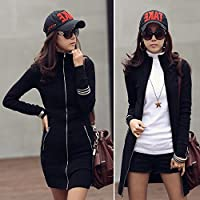 Vktech 韓国風レディーススリム薄い長袖ジッパーディガンドレスロングジャケットコート パッケージヒップドレス (XL)