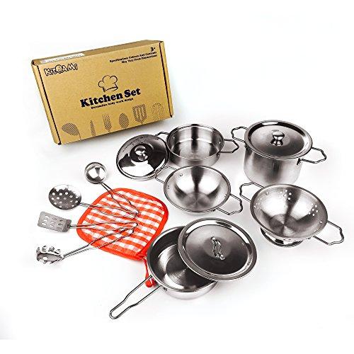 KIDAMI キッズ用調理器具セット おままごとおもちゃ ステンレス製 10点セット 食器セット 料理人ままごと 料理おもちゃ クッキングセット キッチンセット
