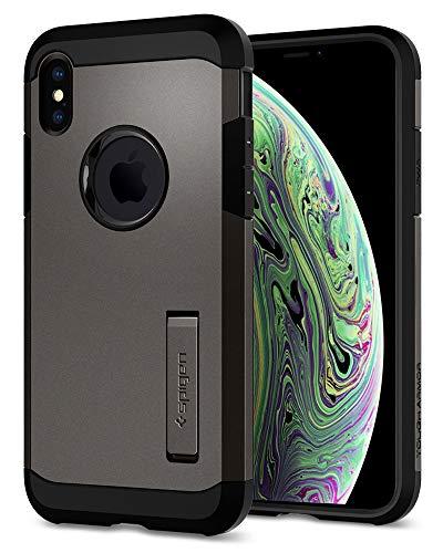 【Spigen】 スマホケース iPhone XS ケース/iPhone X ケース 5.8インチ 対応 耐衝撃 米軍MIL規格取得 スタンド機能 タフ・アーマー 057CS22161 (ガンメタル)