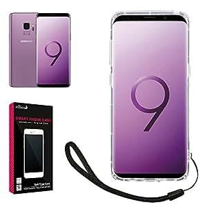 【 shizuka-will- 】 Samsung サムスン Galaxy S9 ケース docomo SC-02K au SCV38 専用 クリアケース カバー 衝撃吸収 落下防止 防指紋 高透明 ストラップ付 ギャラクシー S9 カバー