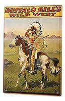 なまけ者雑貨屋 Western Cowboy Indian Bufalo Bill ブリキ看板 壁飾り レトロなデザインボード ポストカード サインプレート 【20×30cm】