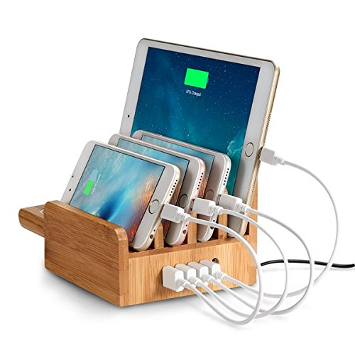 EReach 竹製 充電ステーション、チャージャースタンド 5ポート同時USB急速充電器内蔵多功能充電スタンド スマホ タブレット Apple Watch Series2対応