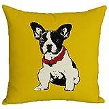 フレンチブルドッグ クッションカバー 45×45 犬 動物 アニマル ピローケース インテリア おしゃれ 雑貨 枕カバー ファスナー式 (黄色)