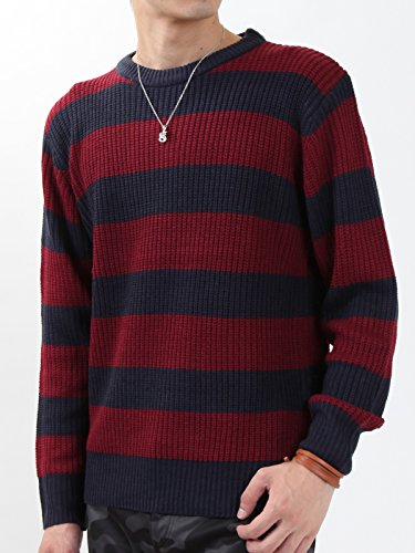 (アーケード) ARCADE 無地 ボーダー ミックス クルーネック ニット メンズ 長袖 セーター M (ボーダー)ネイビー×ワイン(3)