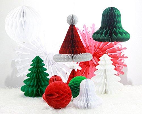 SUNBEAUTY お得!「12PCS入」 ジングルベル ハニカム クリスマス セット 手作り クリスマスパーティーの装飾 飾り付け (クリスマス セット)