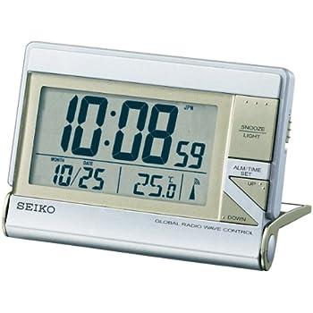 SEIKO CLOCK(セイコークロック) 4カ国対応電波デジタル目覚まし時計 グローバルトラベラタイプ シルバーSQ648S
