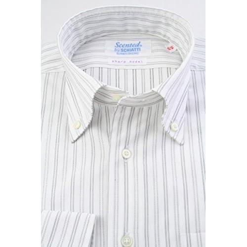 (スキャッティ) Scented 白地 黒系 レールストライプ 80番手双糸 綿100% ボタンダウン (細身) ドレスシャツ bd4155-4185
