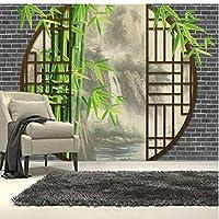 Clhhsy 3d壁画壁纸防水可剥落 カスタム3D壁画中国風の風景ドアリビングルームテレビ壁寝室の壁紙の背後にあるインクの風景-120X100Cm