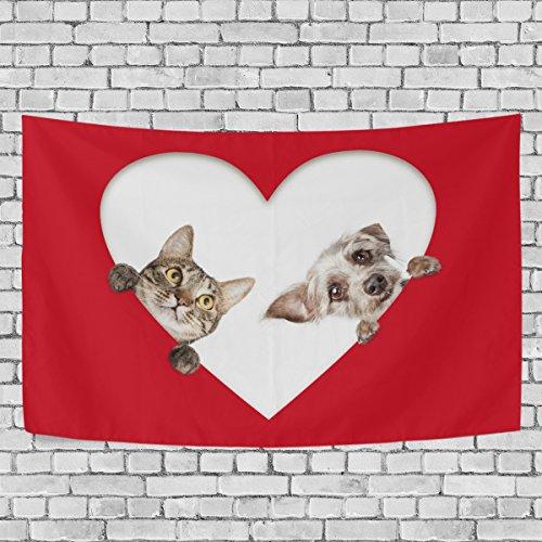 GORIRA(ゴリラ) タペストリー インテリア 壁掛け 和風 おしゃれ 絵画 かわいい 猫柄 犬柄 赤 ハート柄 パーティー 部屋 窓 トップ飾り 個性 家庭飾り 多機能 装飾用品 約幅152x130cm