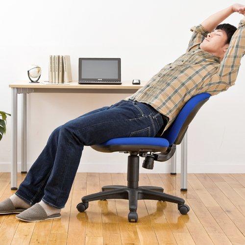 サンワダイレクト オフィスチェア 100-SNC025BL SOHOチェア oaチェア パソコンチェア ブルー 肘なし ロッキング調整