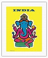 インド - ヒンドゥー教の神ガネーシャ - ビンテージな航空会社のポスター によって作成された ジャン・カルリュ c.1959 - キャンバスアート - 41cm x 51cm キャンバスアート(ロール)