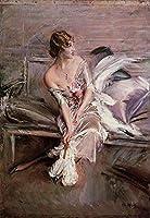 手描き-キャンバスの油絵 - Portrait of Gladys Deacon genre Giovanni Boldini 芸術 作品 洋画 ウォールアートデコレーション -サイズ14