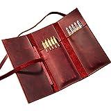 革製 レザーペンケースおしゃれ ペンケース 筆箱 アンティーク風 文具 合革 小物入れポーチ 多機能 ペン袋 ポーチ (レッド(Red))
