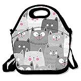 かわいい 猫 保冷 弁当袋 ランチバッグ トートバッグ ウトドア 防水 伸縮性 ファスナー付き 折りたたみ式 通勤 学校に適用