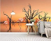 Wuyyii 北欧の壁紙夕焼け湖枯れ木フラミンゴテレビの背景壁家の装飾リビングルームの寝室の3D壁紙-200X140Cm
