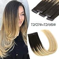 Paruks シールエクステ 外国人風カラー ハイライト レーミヘア 本当の髪拡張人毛ウィッグ 長さ40cm~60cm 10枚セット (50cm, T2/27+T2/60)