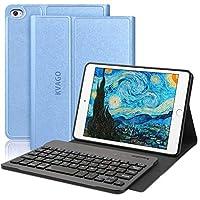 KVAGO iPad mini 5 ケース キーボード 2019モデル iPad mini1/2/3/4/5対応 ワイヤレス Bluetoothキーボード付き 着脱式 オートスリープ スタンド機能 iPad7.9インチ全機種対応 スマートカバー ブルー